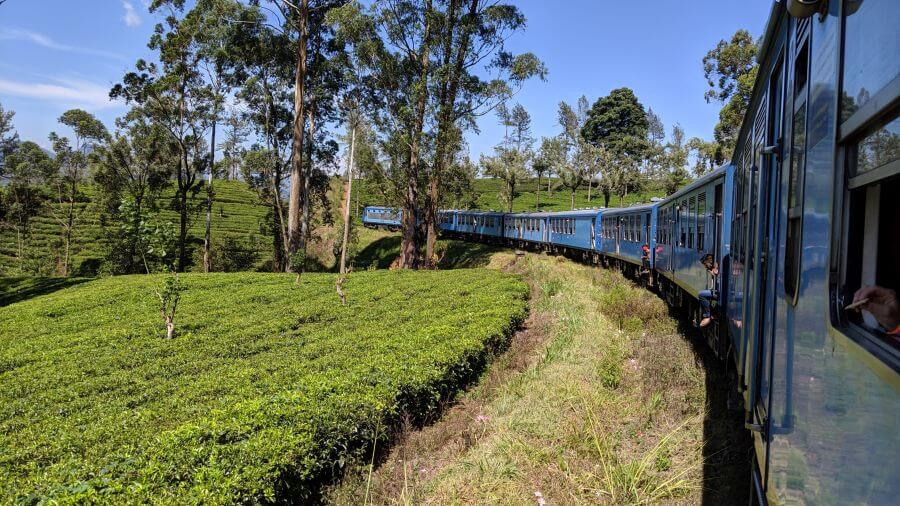 Scenery from the blue train along the Ella to Kandy route. Beautiful Sri Lanka train journey