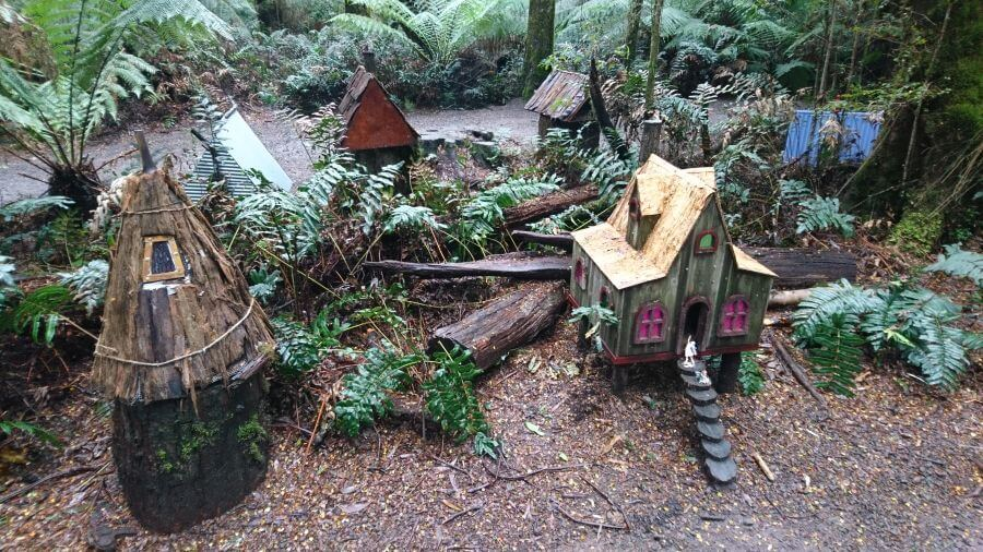 Just some of the cutre fairy houses along the way to and from the elevated platform at the Otway Fly Treetop Adventure. Hill Tribe Travels visited the Otway Fly
