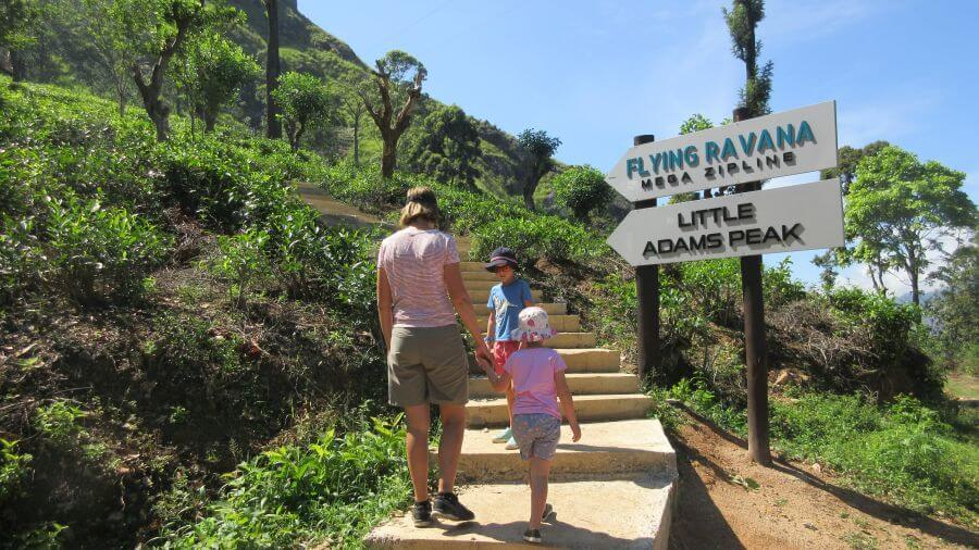 Little Adam's Peak Ella Sri Lanka. Amber and Olive from Hill Tribe Travels heading up the steps to top of Little Adams Peak