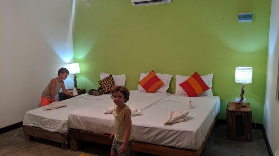 Mahagedara Retreat, Sigiriya - our bedroom. 3 single beds for the 4 of us. Hill Tribe Travels checked out after one night
