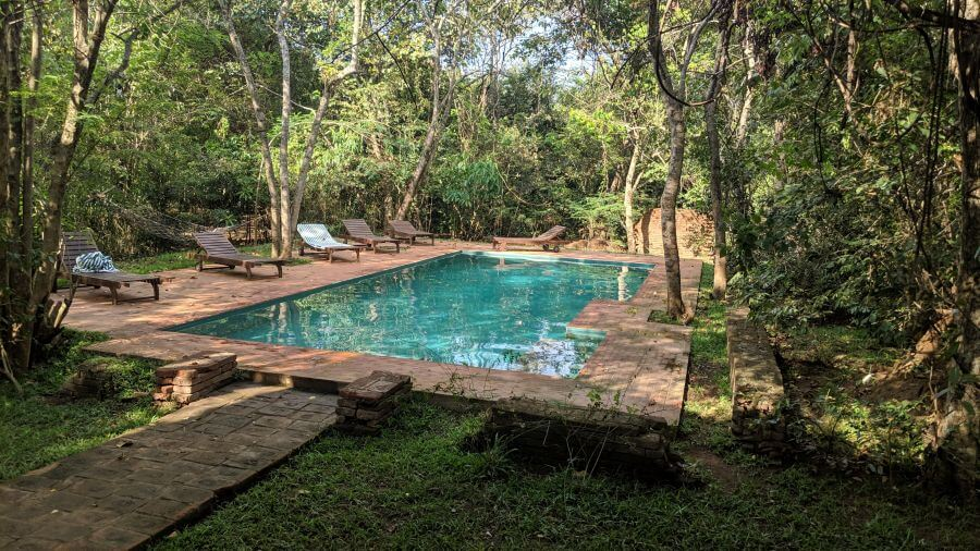 The pool at Mahagedara Retreat, Sigiriya. Hill Tribe Travels stayed here. THe pool is set in the jungle but made our bathers brown