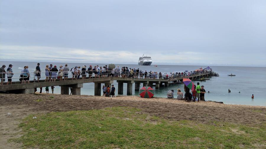 Waiting to get back on our P&O Cruise boat to Papua New Guinea