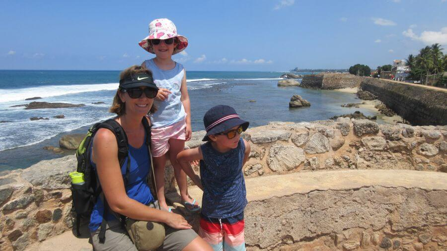 Hill Tribe Travels Sri Lanka with kids Sri Lanka Family Holiday to Sri Lanka. Sitting on the walls around Galle