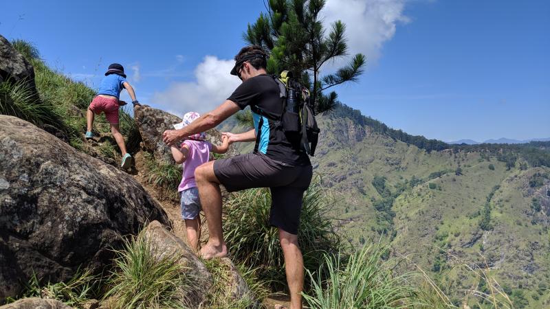 HIll Tribe Travels Sri Lanka with kids Family Sri Lanka Trip Hill Tribe Travels climbing up to Little Adams Peak