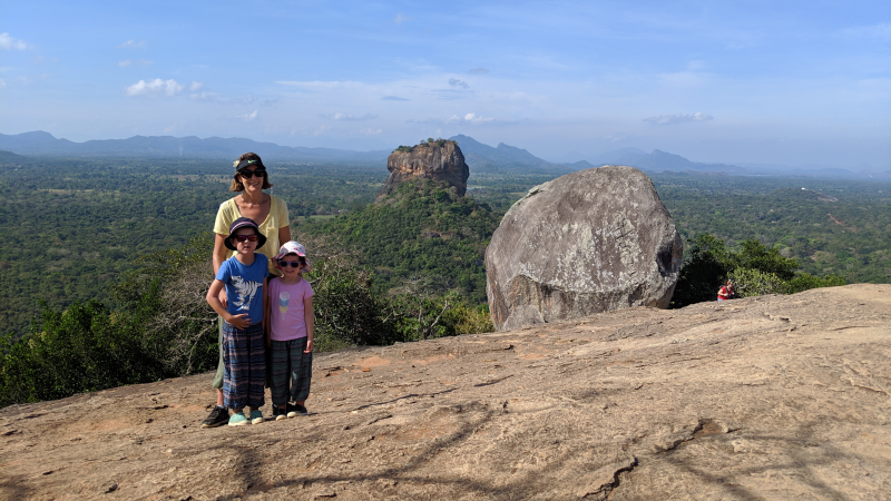 Hill Tribe Travels Sri Lanka Family adventure Sri LAnka with kids This photo is Hill Tribe Travels Family Travel on top of Pidurangala Rock