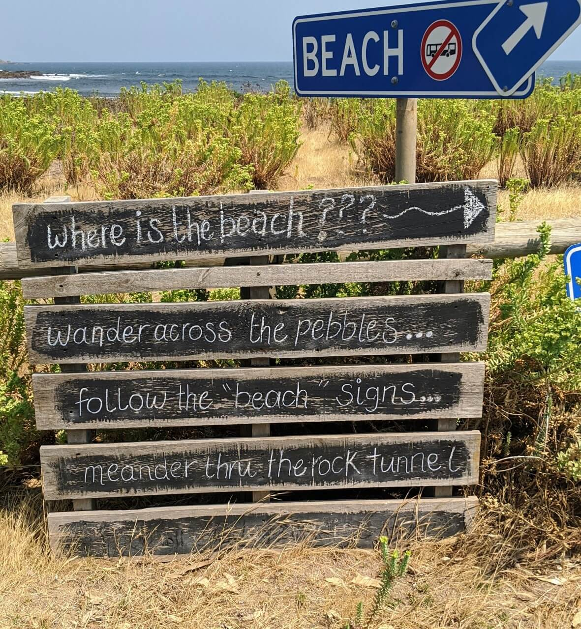 The sign to the 'secret beach' of Stokes Bay. One of the best things to do on Kangaroo Island with kids