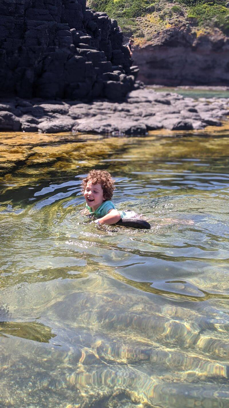 Olive enjoying the Bushrangers Bay rockpools in warmer weather