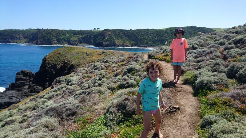 Ned and Olive Hill Tribe Travels visited Bushrangers Bay. Great family hike. Best walks for kids. View from the top of the rocks