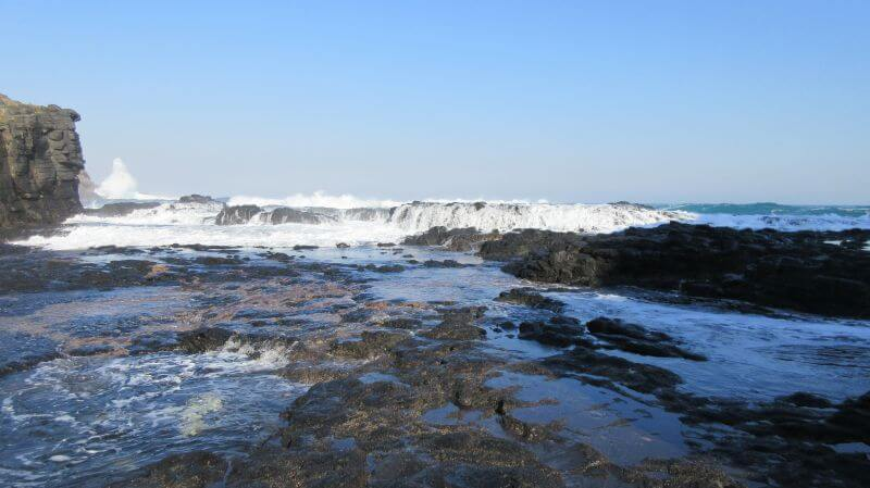 The waves crashing over the rockpools (on a different visit). HIll Tribe Travels visitied Bushrangers Bay as it's a great hike for families. Here is a view of the waves crashing over the rockpools on a rough weather day