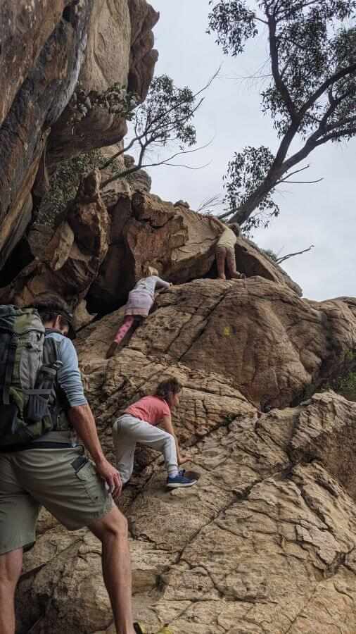 Climbing section number 2 at Hollow Mountain. One of the best walks for kids in the Grampians