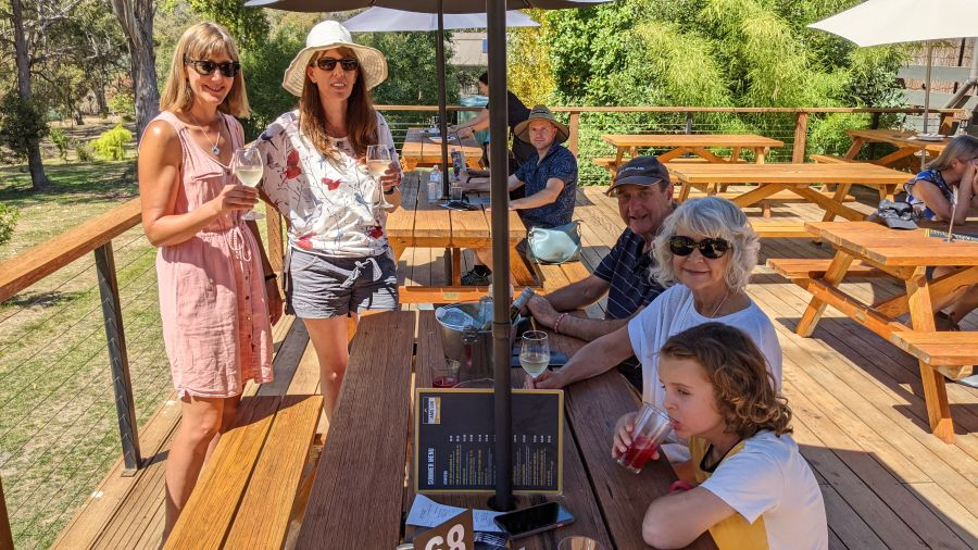 Hill Tribe Travels Jamieson Caravan Park. Here we are enjoying lunch at the Jamieson Brewery