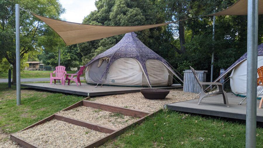Glamping tents at Jamieson Caravan Park. Hill Tribe Travels visited Jamieson Caravan Park on a family camping weekend.